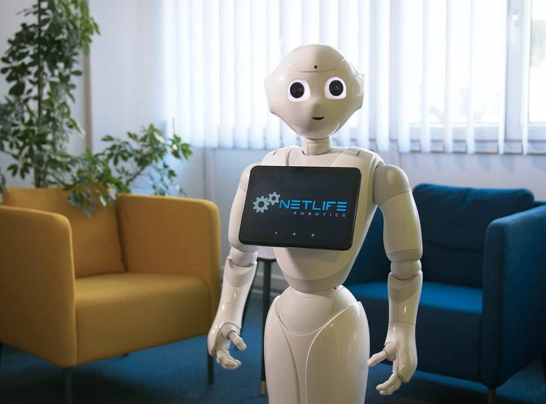 Humanoid robot in the office