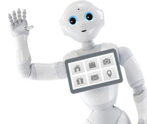 Pepper nevű humanoid robot integet a képen.