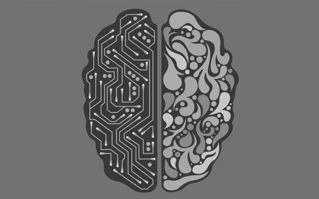Mesterséges intelligencia illusztráció. Az agy egyik fele gépi, neurális hálóra emlékeztet, másik fele rendes emberi agy.