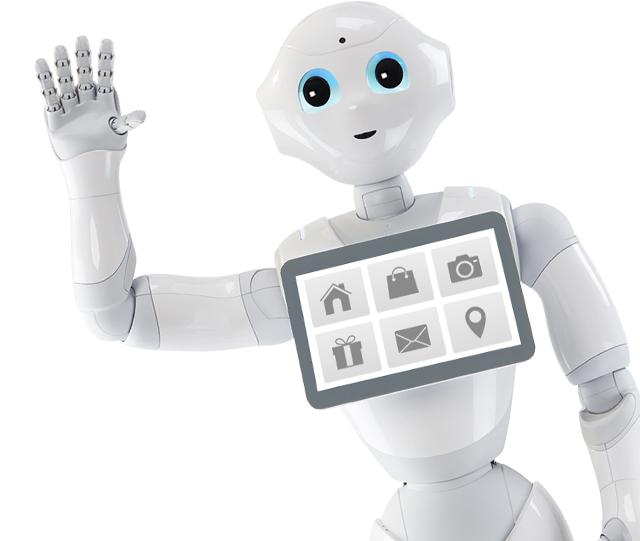 Pepper, a humanoid robot integet a képen.