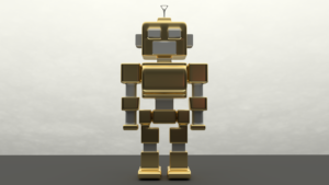 Két lábon járó humanoid robotról készült grafika.