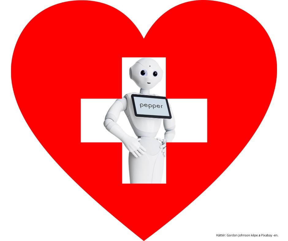 Pepper robot asszisztens egy kórházi szív embléma mögött.