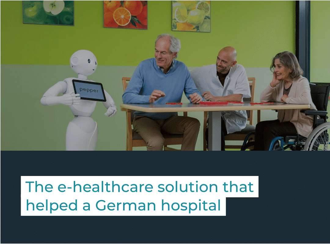Pepper robot talks with patients and a nurse in a hospital
