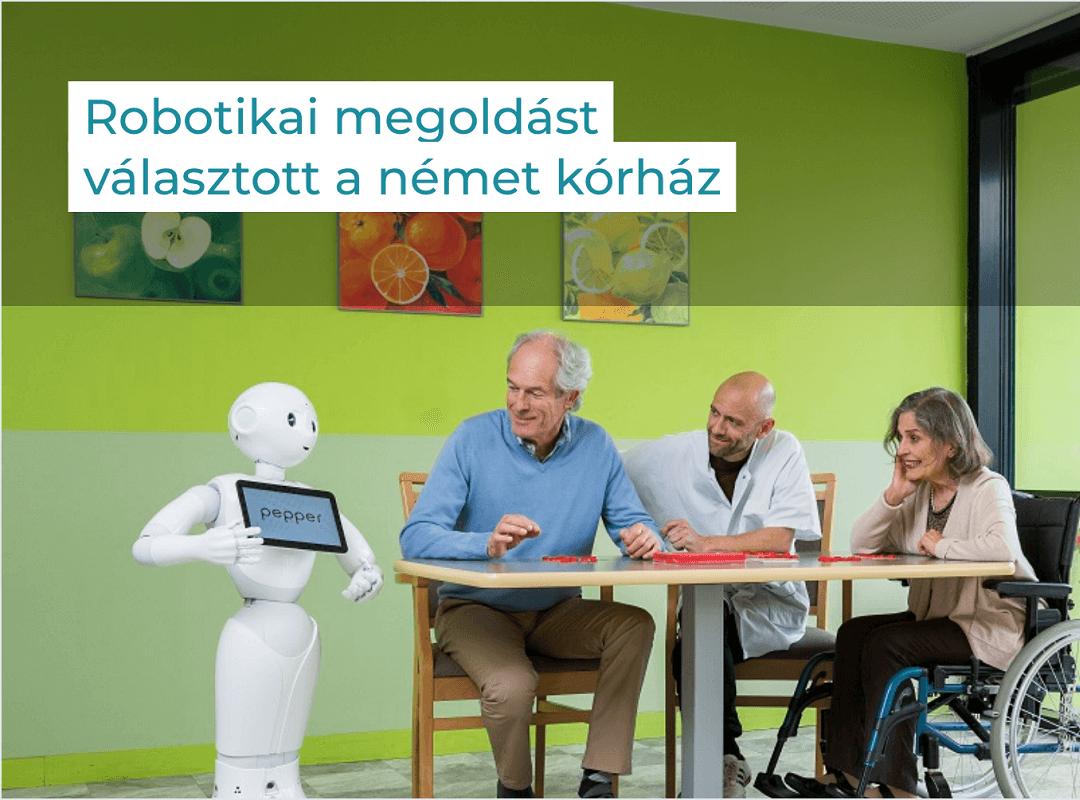 Digitalizált egészségügy: a képen Pepper robot látható, amint épp páciensekkel beszélget egy német kórházban